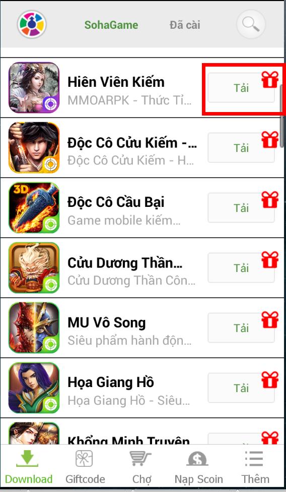 [Hướng Dẫn] Cài Đặt Game Hiên Viên Kiếm trên App SohaGame - 3