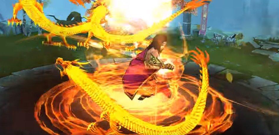 Kiều Phong tung Phi Long Tại Thiên trong game Kim Dung Quần Hiệp Truyện