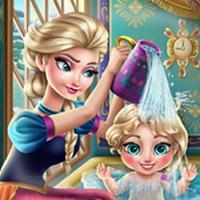 Game Elsa Tắm Cho Baby
