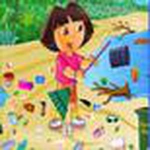 Dora dọn bãi biển
