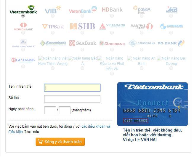 [HƯỚNG DẪN] NẠP KNB BẰNG THẺ ATM- VISA- MASTER CARD - 4