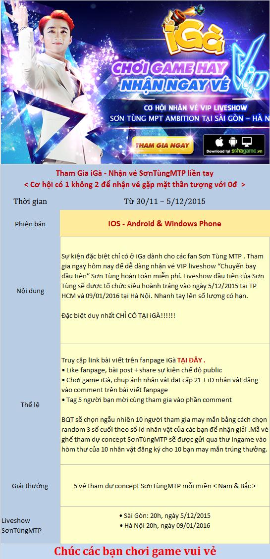 iGà trao cơ hội nhận vé VIP liveshow SơnTùngMTP - 1