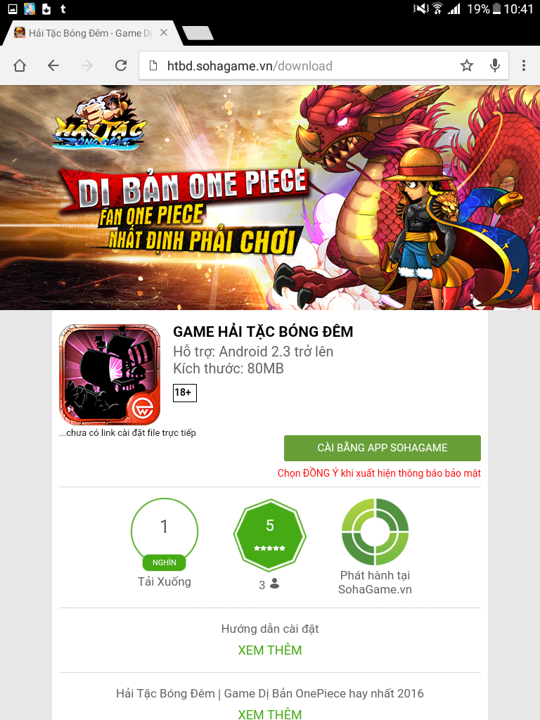 Tải và cài đặt game Hải Tặc Bóng Đêm từ App Sohagame cho máy Android - 1