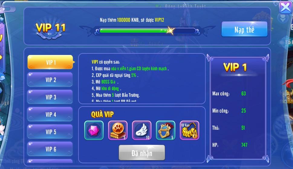 [Cấp VIP] - Đặc Quyền VIP trong Soái Ca Truyền Thuyết - 3