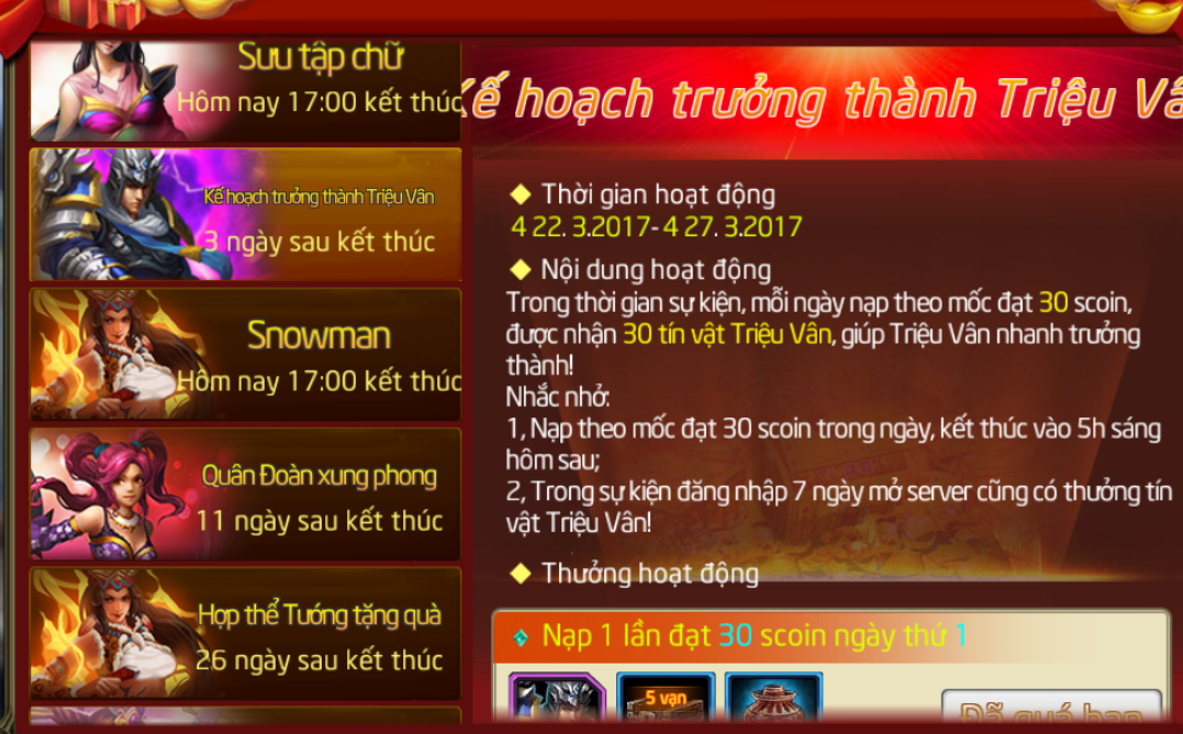 Sự kiện Kế Hoạch Trưởng Thành Triệu Vân - 1