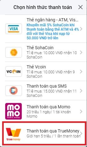 [Hướng dẫn] Nạp Thẻ SohaCoin bằng ví TrueMoney - 3