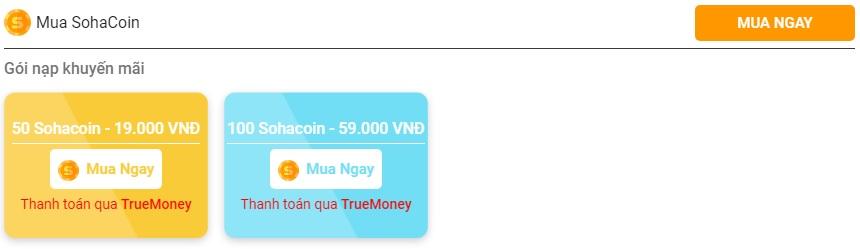[Hướng dẫn] Nạp Thẻ SohaCoin bằng ví TrueMoney - 1