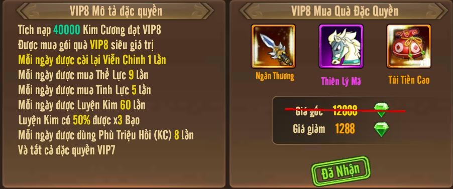 [Tính Năng] Cấp VIP - Phúc Lợi VIP - 12