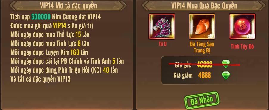 [Tính Năng] Cấp VIP - Phúc Lợi VIP - 18