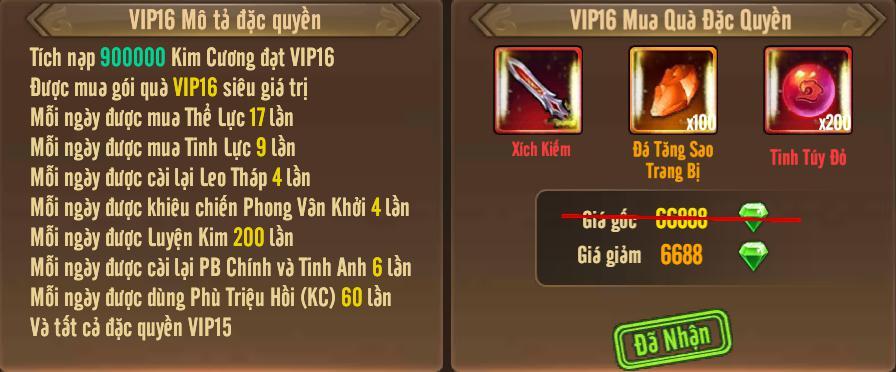 [Tính Năng] Cấp VIP - Phúc Lợi VIP - 20