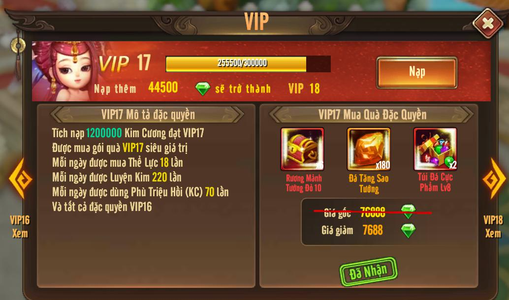 [Tính Năng] Cấp VIP - Phúc Lợi VIP - 2