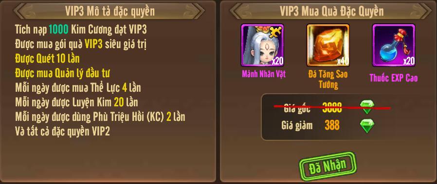[Tính Năng] Cấp VIP - Phúc Lợi VIP - 7