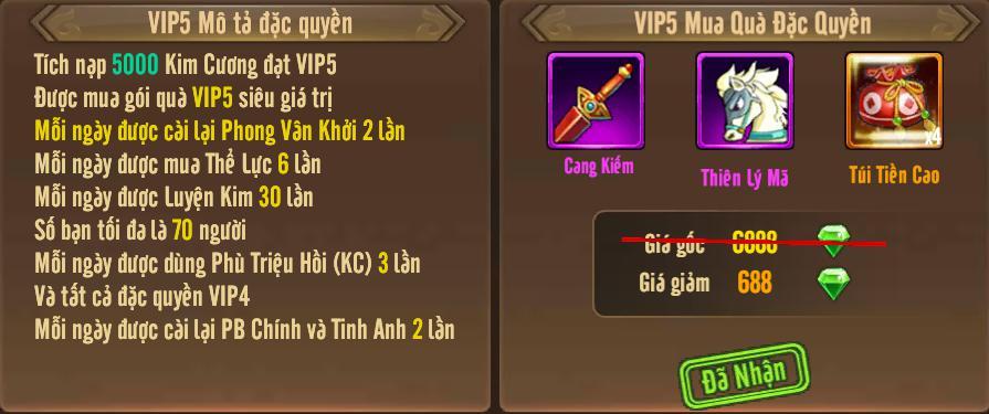 [Tính Năng] Cấp VIP - Phúc Lợi VIP - 9