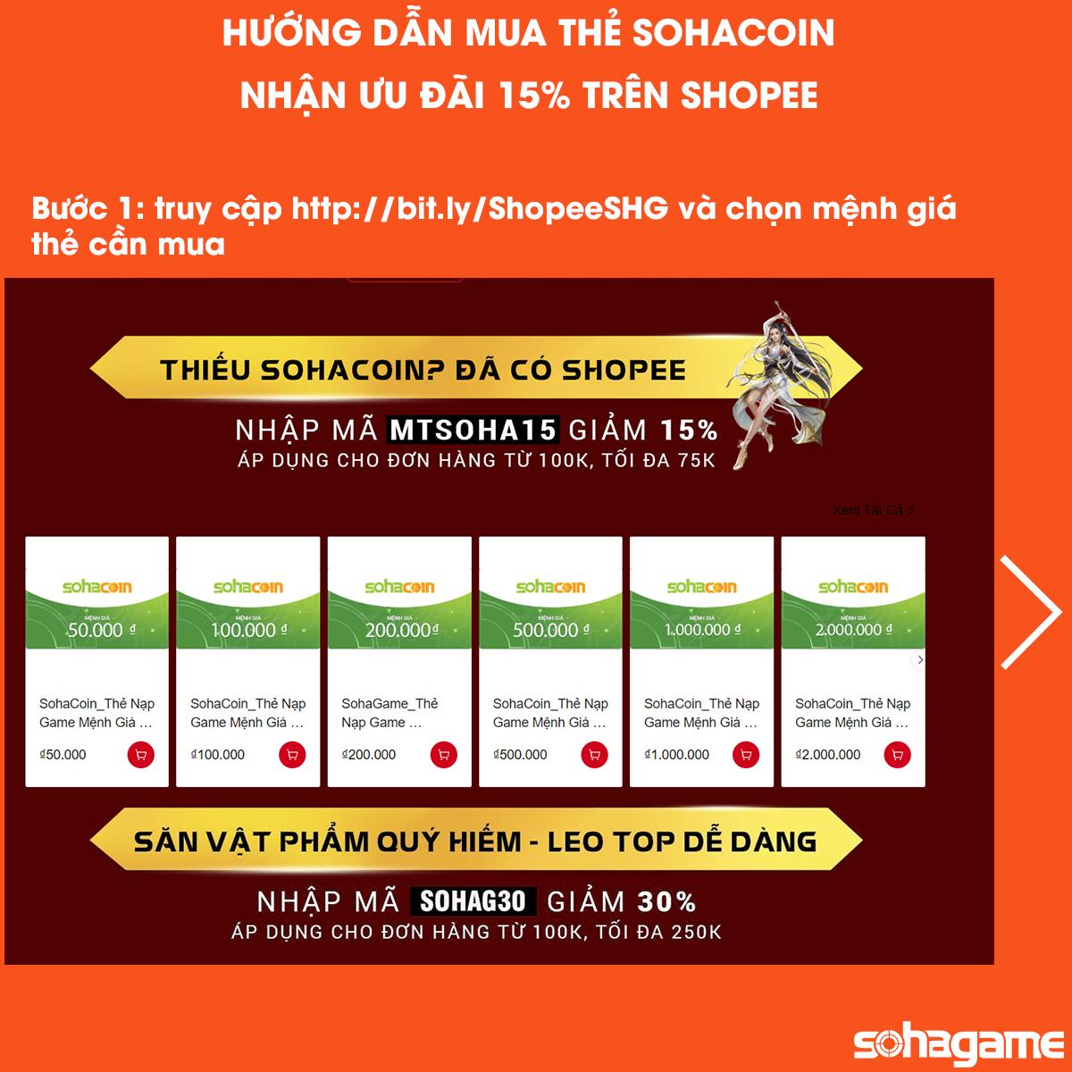 [SỰ KIỆN] KHUYẾN MÃI ĐẶC BIỆT - GIẢM 15% KHI MUA THẺ SOHACOIN TRÊN SHOPEE - 3