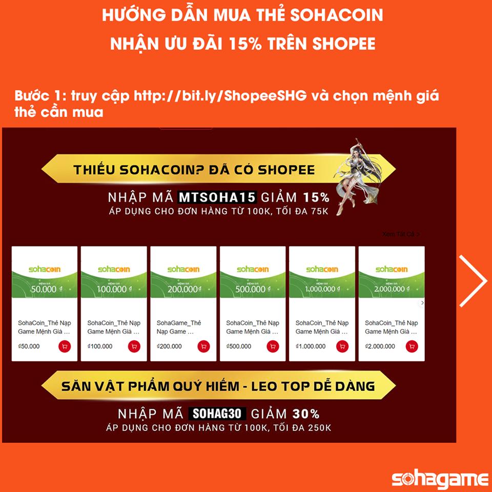 [SỰ KIỆN] GIẢM 15% KHI MUA THẺ SOHACOIN TRÊN SHOPEE - 1