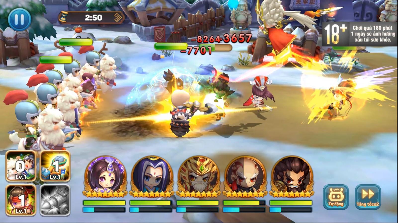 Ngoài đội hình chính, game quẩy Tết Tiểu Tiểu Tam Quốc Chí còn cho triệu hồi cả Xe bắn đá, Lính gỡ bom, Đạo quân Cừu max vui
