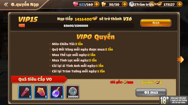 [Hướng Dẫn] Hệ Thống VIP Tam Quốc Tốc Chiến - 4