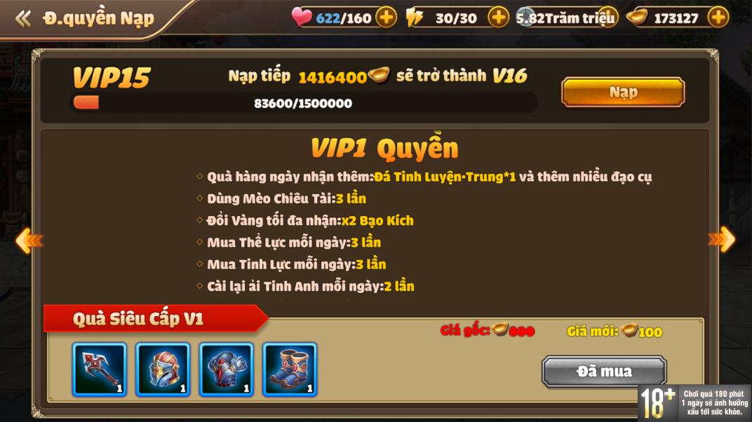 [Hướng Dẫn] Hệ Thống VIP Tam Quốc Tốc Chiến - 5