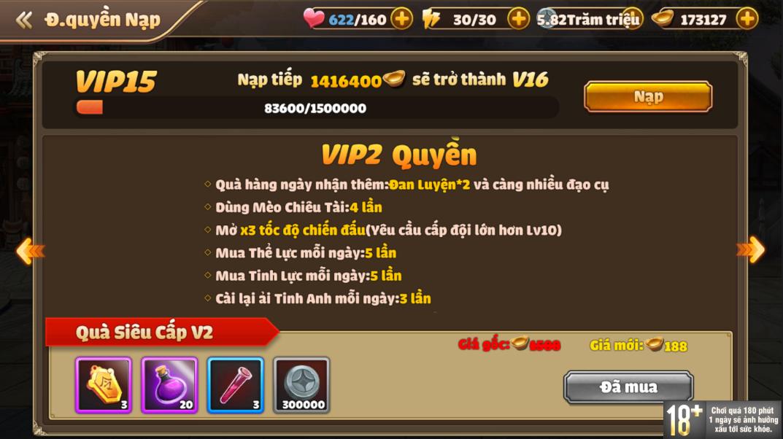 [Hướng Dẫn] Hệ Thống VIP Tam Quốc Tốc Chiến - 6