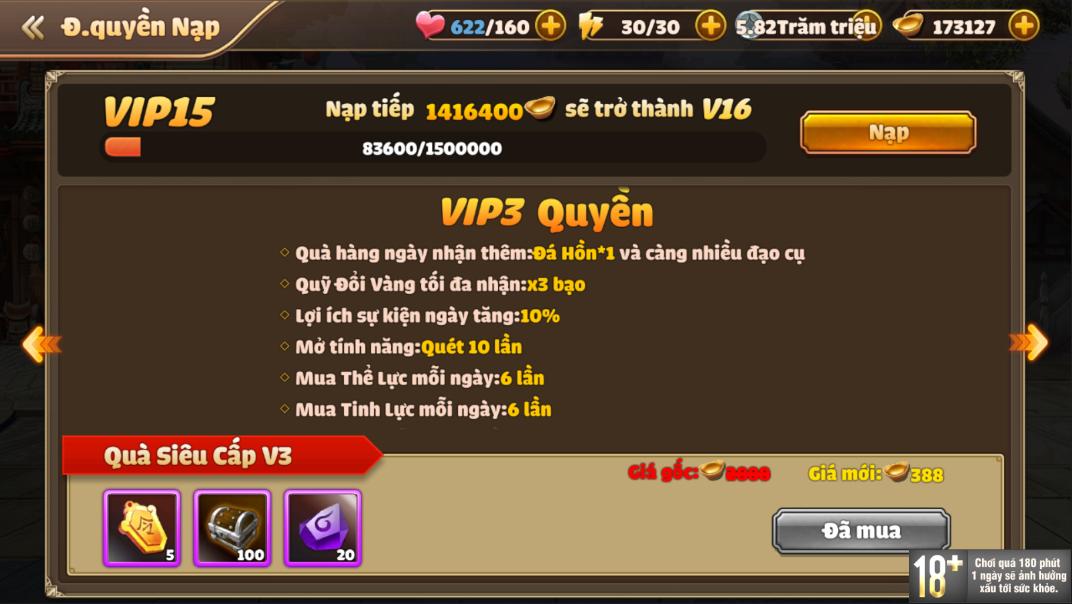[Hướng Dẫn] Hệ Thống VIP Tam Quốc Tốc Chiến - 7