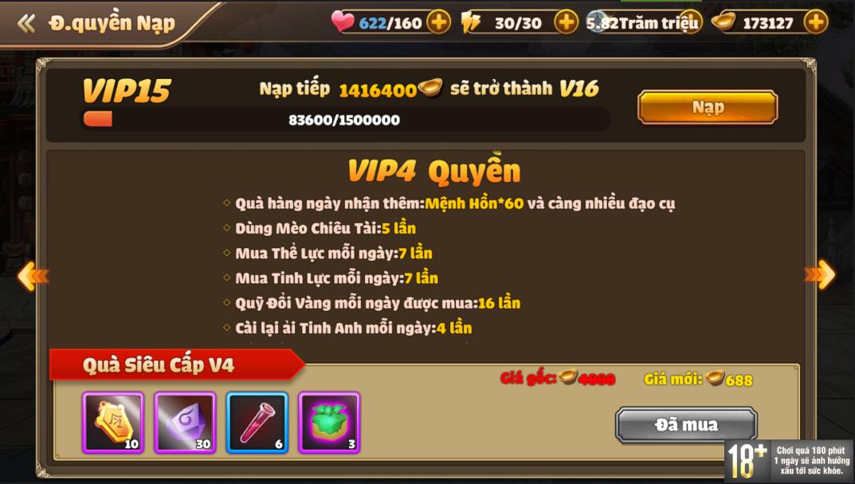 [Hướng Dẫn] Hệ Thống VIP Tam Quốc Tốc Chiến - 8