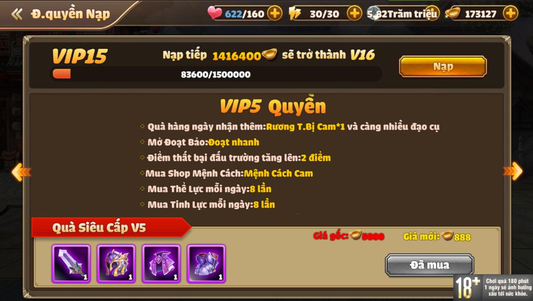 [Hướng Dẫn] Hệ Thống VIP Tam Quốc Tốc Chiến - 9