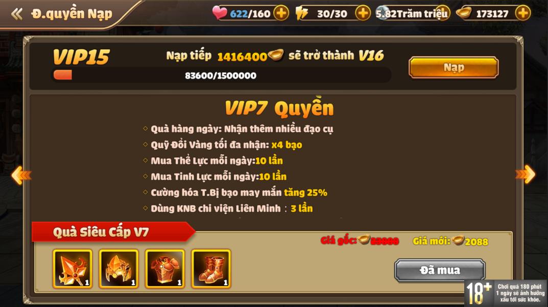 [Hướng Dẫn] Hệ Thống VIP Tam Quốc Tốc Chiến - 11