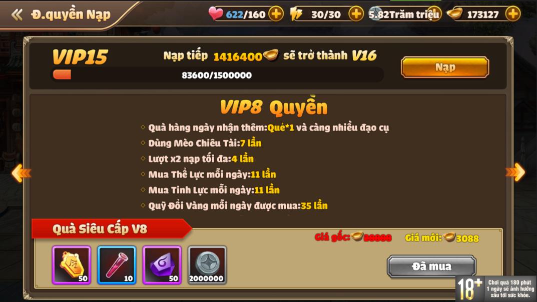 [Hướng Dẫn] Hệ Thống VIP Tam Quốc Tốc Chiến - 12