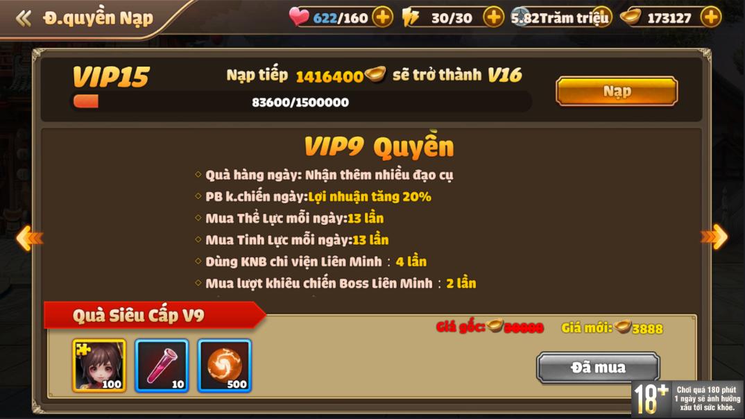 [Hướng Dẫn] Hệ Thống VIP Tam Quốc Tốc Chiến - 13