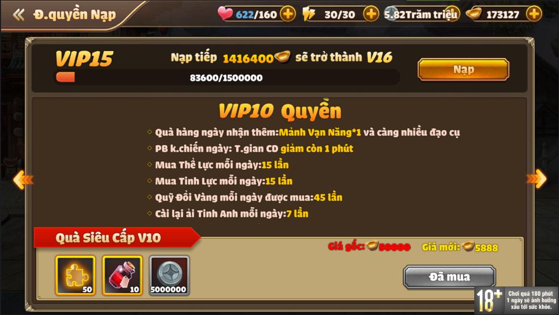 [Hướng Dẫn] Hệ Thống VIP Tam Quốc Tốc Chiến - 14