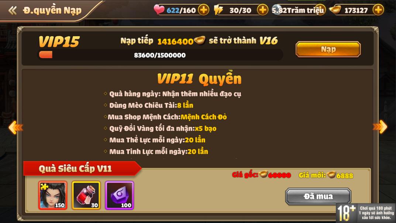 [Hướng Dẫn] Hệ Thống VIP Tam Quốc Tốc Chiến - 15