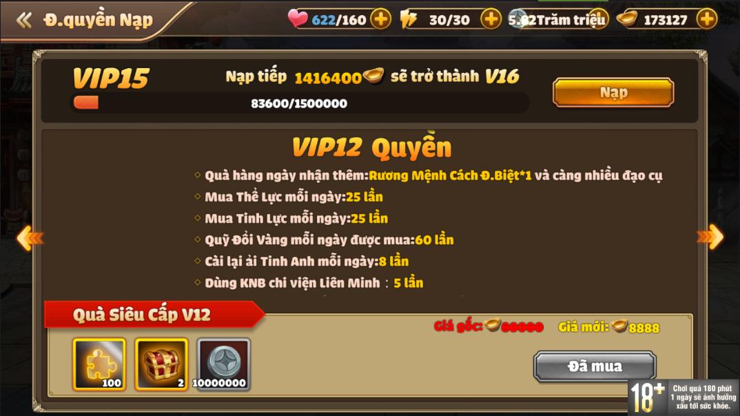 [Hướng Dẫn] Hệ Thống VIP Tam Quốc Tốc Chiến - 16