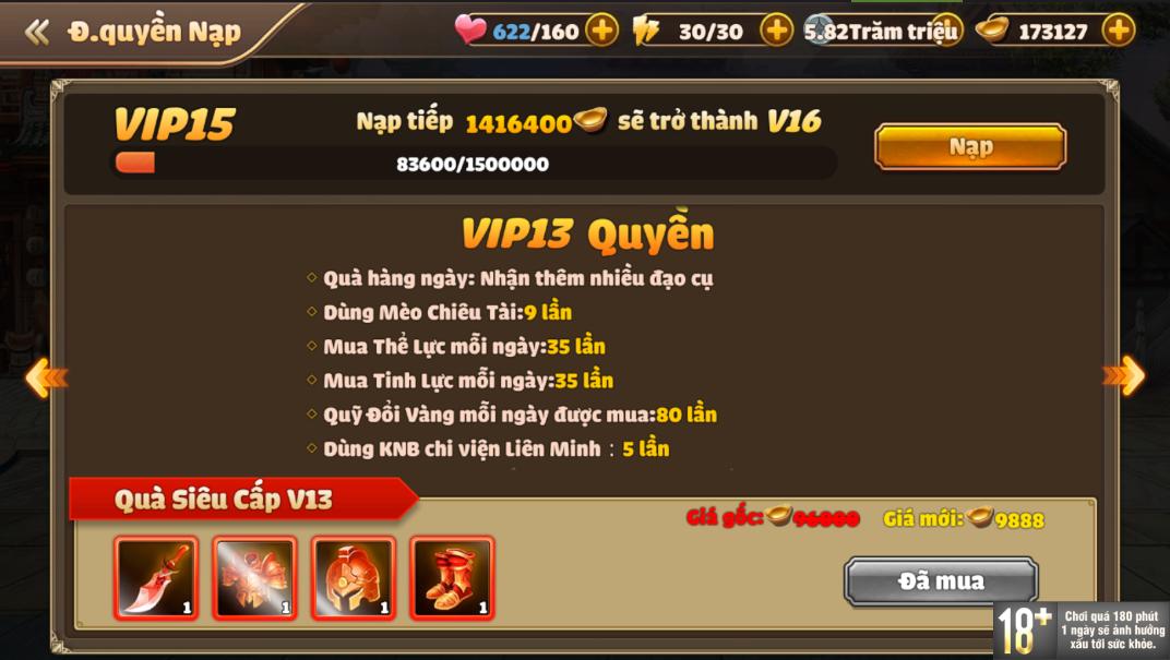 [Hướng Dẫn] Hệ Thống VIP Tam Quốc Tốc Chiến - 17