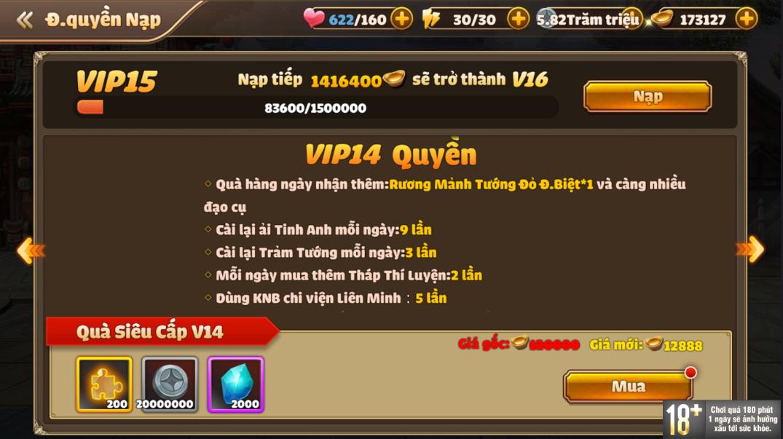 [Hướng Dẫn] Hệ Thống VIP Tam Quốc Tốc Chiến - 18