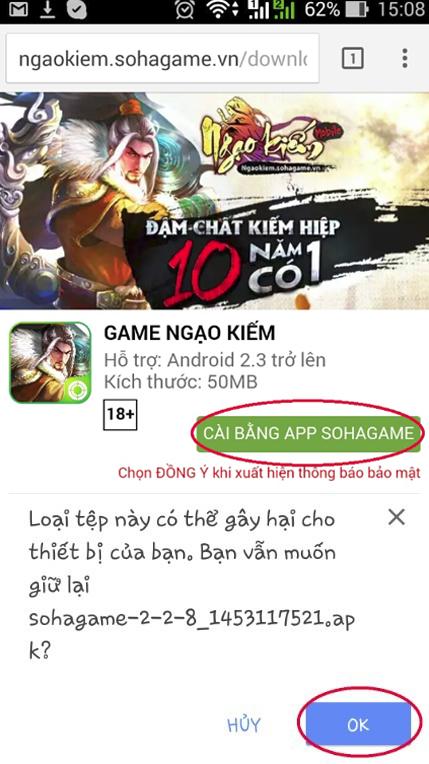 [Hướng dẫn] Tải và cào đặt game Ngạo Kiếm Mobile từ App SohaGame - 8