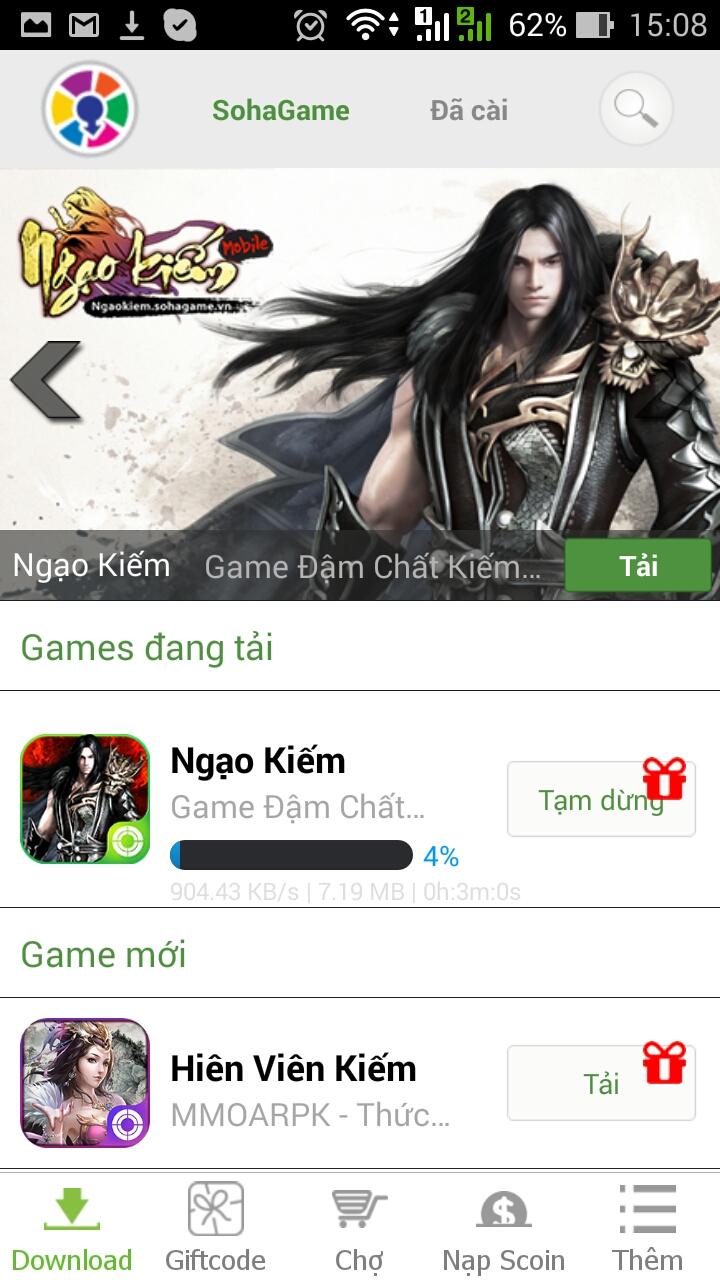 [Hướng dẫn] Tải và cào đặt game Ngạo Kiếm Mobile từ App SohaGame - 3